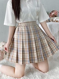 JK Pleated Plaid A-line Sweet Milk Tea Skirt by Pudding Bear