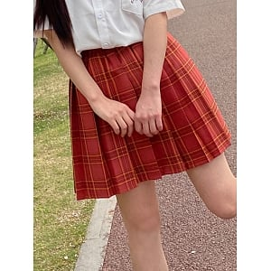 JK Pleated Plaid A-line Sweet Red Skirt by Pudding Bear