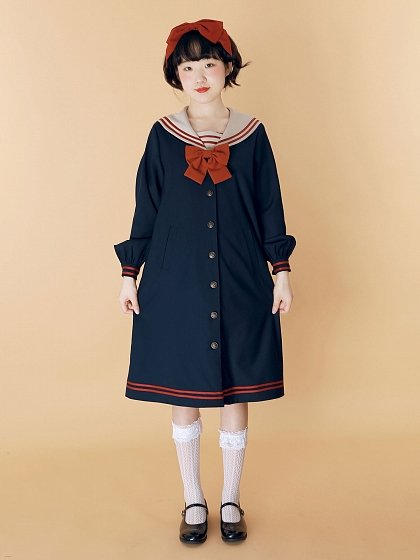 Retor Sailor Collar Long Overcoat by Crucis Universal Tailor Company