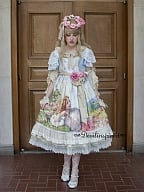 Sweet Lolita Oil Painting Printed Double Layered Sleeves OP Dress - The Song Of The Lark by Souffle Song