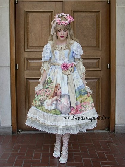 Sweet Lolita Oil Painting Printed Double Layered Sleeves Op Dress The Song Of The Lark By