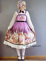 Custom Size Available Natural Waist Cross Back Tea Length Lolita JSK - Kitty Courtyard by Souffle Song