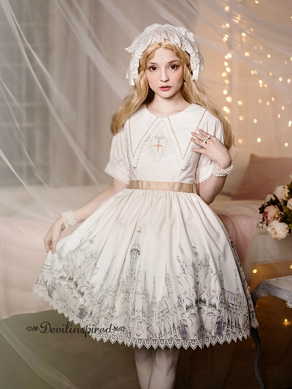 High Waist Sailor Style Collar Short Sleeves OP - Angel's Feather by Souffle Song