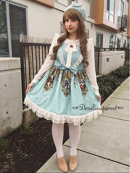 V-shape Ruffles Decorated Bodice Sweet Lolita Jumper Skirt / JSK - Holy Cross by Souffle Song