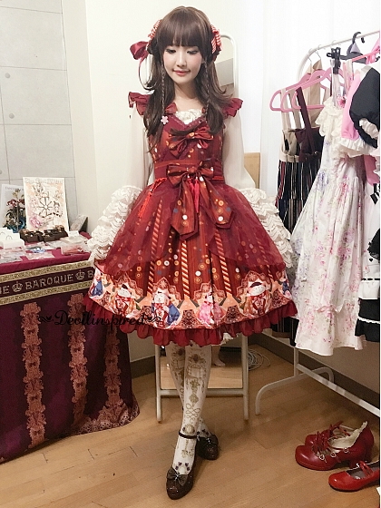 Sweet Printed JSK with Bowknot Decoration and Tulle Overlay Skirt - Beckoning Cat by Souffle Song