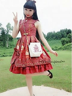 Water Drop Open Front Sleeveless Lolita JSK - Chinese Palace Lanterns by Souffle Song