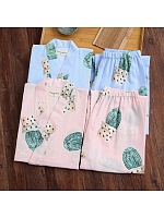 Kimono Japanese Bathrobe Trousers Cactus Blue Pastelpink