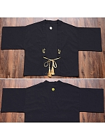Kimono Japanese Bathrobe Black Embroidery Traditional