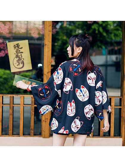 Kimono Japanese Bathrobe Fox Mask Harajuku Thin Jacket