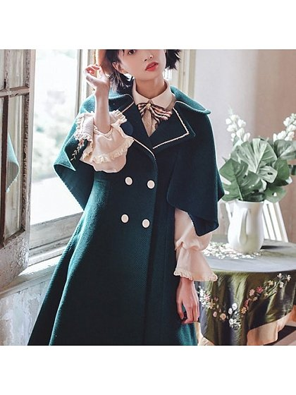 Retro Flowers Embroidered Lapel Collar Plush Overcoat by HuaJianShang
