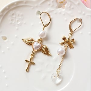 Heart Wing Crucifix Ear Clip