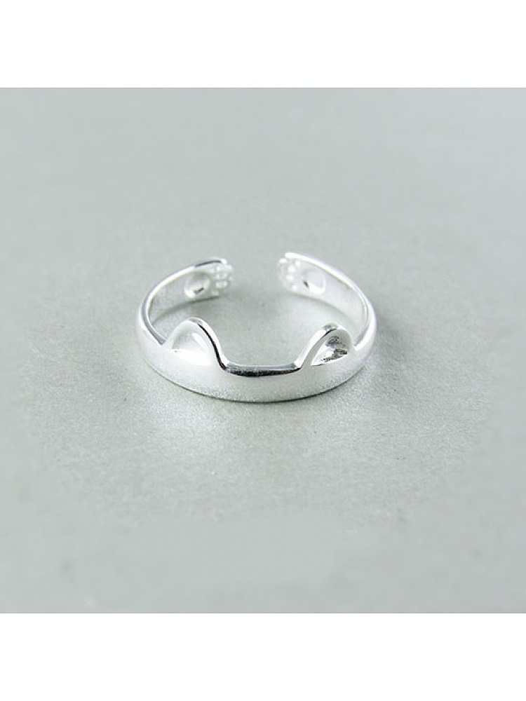 Ring In Kaars.18 00 Kitty Ears Little Thumb Silver Ring