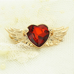Red Heart Angel Wings Rhinestone Brooch