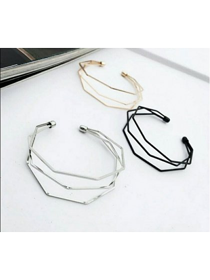 Simple Style Geometric Solid Polygon Open Bracelet