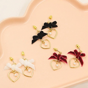 Sweet Pretty Cute Girl Heart Bowknot Velvet Eardrop