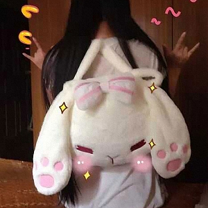 Lovely Rabbit Head Different Expression Backpack