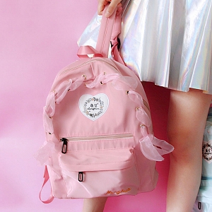 Heart Rose Embroidered Ribbon Backpack