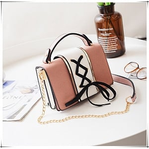 Chic Lace Up Square Chain Crossbody
