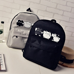 Three Kitty Printed Backpack