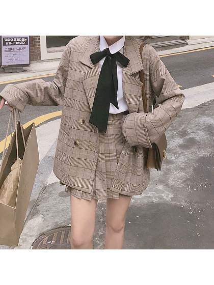 Suit Style Jacket And Plaid Pleat SK Set by conybabe