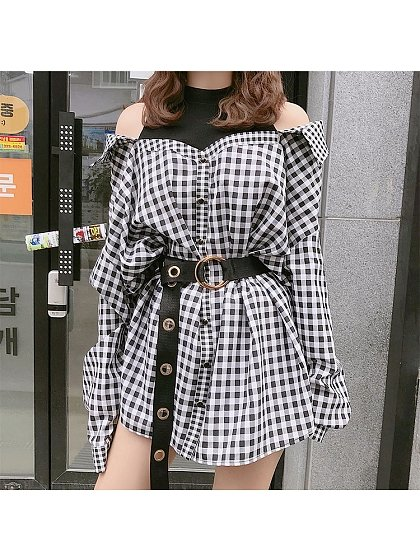 Fake Two-Pieces Long Sleeve Blouse-Styled Dress by conybabe