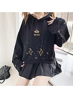 Space Travel Black Hoodie with Gold Stars and Spacecraft Print by Catwish