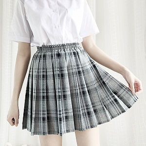 Grey and Black Plaid Skirt by Catwish