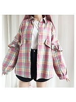Rainbow Plaid Blouse by Catwish