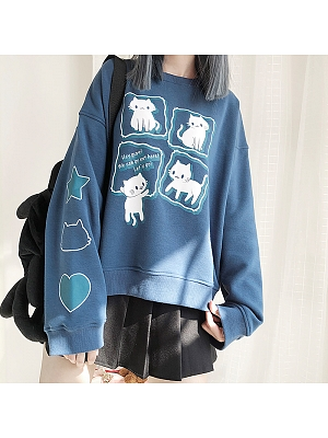 Four Cats Printed Sweatshirt by Catwish