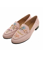 Embroidered Satin Low Heel Slip-on Sneakers by Dear Li