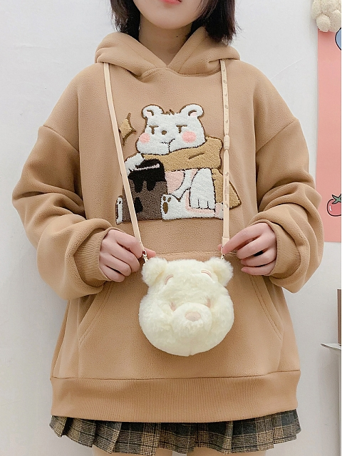 Honey Bear Fluffy Hoodie by DeerImmort
