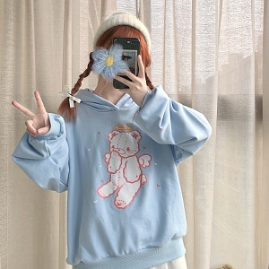 Angel Bear Printed Light Blue Hoodie by DeerImmort