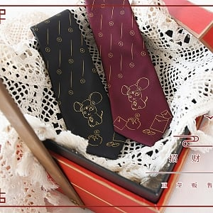 Little Red Mouse and Little Black Mouse Necktie by DY