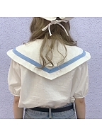 Navy Baby Blue Cotton Puffy Sleeves Blouse by ELIM