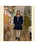 Corduroy Bubble Sleeves Navy Collar  OP by ELIM