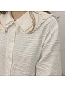 Double Collars Japanese Lace Cotton Navy Collar Dark Grain Blouse by ELIM