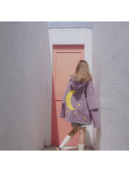 Cool Purple Star and Moon Fake Two Oversize Hooded Straps TOP by ELIM