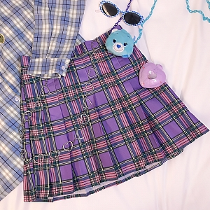 Purple Plaid Pleated Skirt by FanLove