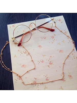 Round Glasses with Chain Lolita Daily Accessories