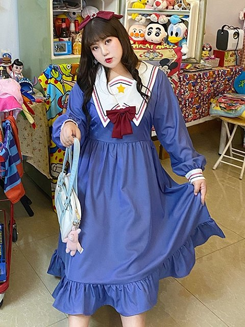 Plus Size The Key of Love Sailor Collar Dress by Hard Candy