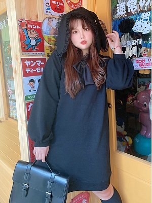 Plus Size Black Bunny Ears Long Hoodie by Hard Candy