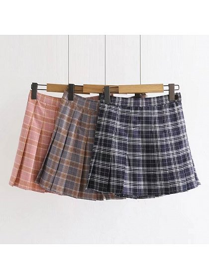 Empire Waist Pleated Plaid SK