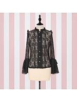 Retro Lace Trumpet Sleeves Bodice