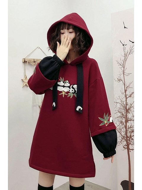 Panda Embroidery Red Long Hoodie