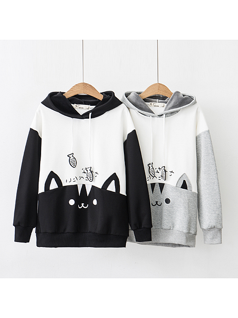 Cat and Fish Splice Color Hoodie
