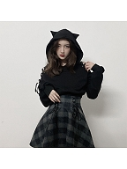 Cat Ear Lace-up Sleeves Hoodie