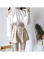 Open-Shoulder Bishop Sleeves Top And Shorts Suit