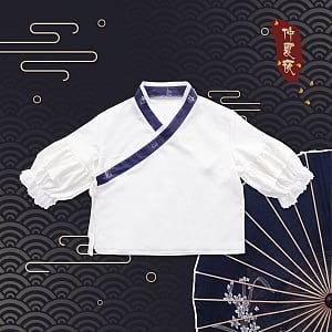 Midsummer Night Chinese Element Crossing Collar Top by Mitsuba