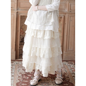 Mori Girl Lace Tiered Skirt by Mucha