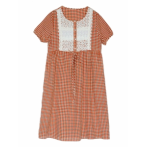 Mori Girl Lace Joint Linen Dress by Mucha